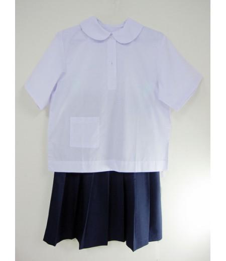 ชุดนักเรียน(หญิง)ประถม#8 (เสื้อคอบัวผ่าครึ่ง) อก 40 นิ้ว ยาว 22 นิ้ว , กระโปรงจีบรอบ ยาว 23 นิ้ว X เอว 26 นิ้ว